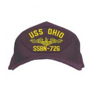 USS Ohio SSBN-726 Cap with Gold Emblem (Dark Navy) (Direct Embroidered)