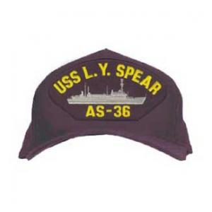 USS L. Y. Spear AS-36 Cap with Boat (Dark Navy) (Direct Embroidered)