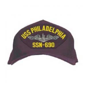 USS Philadelphia SSN-690 Cap with Silver Emblem (Dark Navy) (Direct Embroidered)