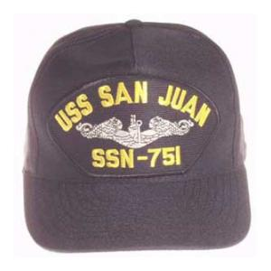 USS San Juan SSN-751 Cap with Silver Emblem (Dark Navy) (Direct Embroidered)