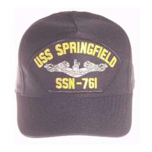 USS Springfield SSN-761 Cap with Silver Emblem (Dark Navy) (Direct Embroidered)