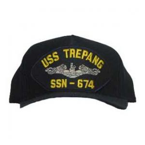 USS Trepang SSN-674 Cap with Silver Emblem (Dark Navy) (Direct Embroidered)