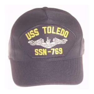 USS Toledo SSN-769 Cap with Silver Emblem (Dark Navy) (Direct Embroidered)