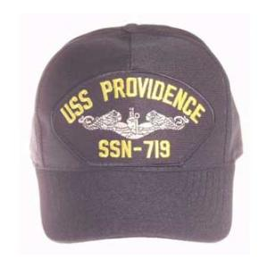 USS Providence SSN-719 Cap with Silver Emblem (Dark Navy) (Direct Embroidered)