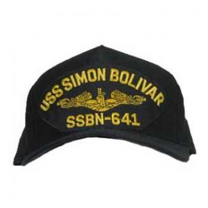 USS Simon Bolivar SSBN-641 Cap with Gold Emblem (Dark Navy) (Direct Embroidered)