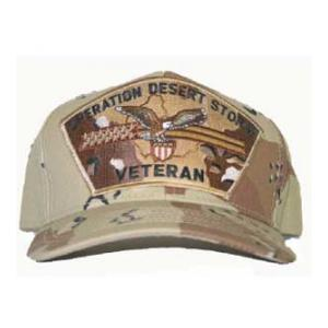 Operation Desert Storm Veteran Cap with Flag and Eagle (Desert Camo)
