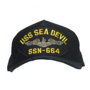 USS Sea Devil SSN-664 Cap with Silver Emblem (Dark Navy) (Direct Embroidered)