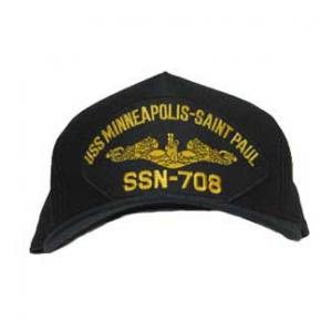 USS Minneapolis-Saint Paul SSN-708 Cap with Gold Emblem (Dark Navy) (Direct Embroidered)