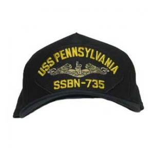 USS Pennsylvania SSBN-735 Cap with Silver Emblem (Dark Navy) (Direct Embroidered)