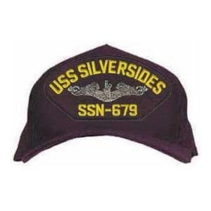 USS Silversides SSN-679 Cap with Silver Emblem (Dark Navy) (Direct Embroidered)