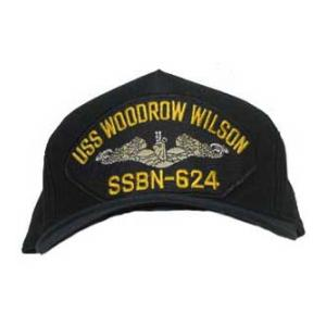 USS Woodrow Wilson SSBN-624 Cap with Silver Emblem (Dark Navy) (Direct Embroidered)