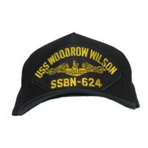 USS Woodrow Wilson SSBN-624 Cap with Gold Emblem (Dark Navy) (Direct Embroidered)