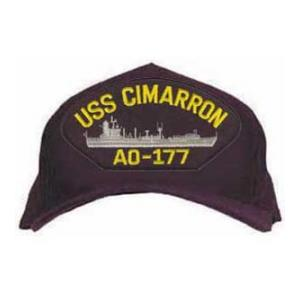 USS Cimarron AO-177 Cap with Boat (Dark Navy) (Direct Embroidered)