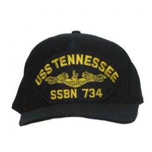 USS Tennessee SSBN-734 Cap with Gold Emblem (Dark Navy) (Direct Embroidered)
