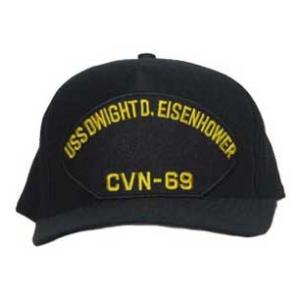 USS Dwight D. Eisenhower CVN-69 Cap with Letters Only (Dark Navy) (Direct Embroidered)