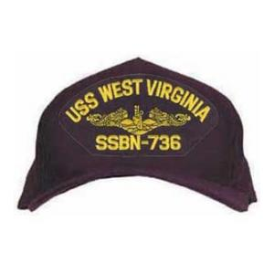 USS West Virginia SSBN-736 Cap with Gold Emblem (Dark navy) (Direct Embroidered)