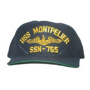 USS Montpelier SSN-765 Cap with Gold Emblem (Dark Navy) (Direct Embroidered)