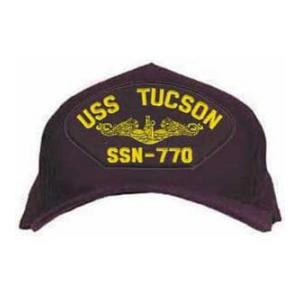USS Tucson SSN-770 Cap with Gold Emblem (Dark Navy) (Direct Embroidered)
