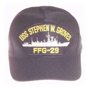 USS Stephen W. Groves FFG-29 Cap (Dark Navy) (Direct Embroidered)