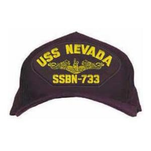 USS Nevada SSBN-733 Cap with Gold Emblem (Dark Navy) (Direct Embroidered)