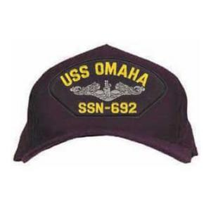 USS Omaha SSN-692 Cap with Silver Emblem (Dark Navy) (Direct Embroidered)