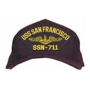 USS San Francisco SSN-711 Cap with Gold Emblem (Dark Navy) (Direct Embroidered)