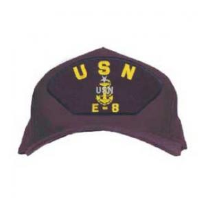 USN E-8 Cap with Anchor and Star (Dark Navy)