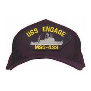 USS Engage MSO-433 Cap with Emblem (Dark Navy) (Direct Embroidered)