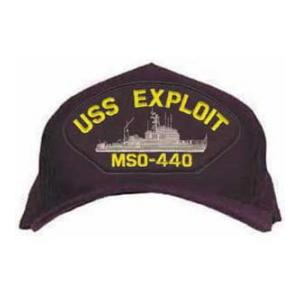 USS Exploit MSO-440 Cap with Emblem (Dark Navy) (Direct Embroidered)