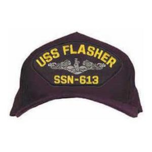 USS Flasher SSN-613 Cap with Silver Emblem (Dark Navy) (Direct Embroidered)
