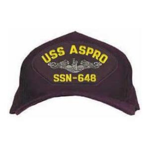 USS Aspro SSN-648 Cap with Silver Emblem (Dark Navy) (Direct Embroidered)
