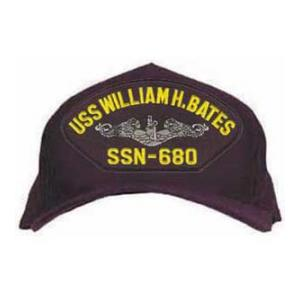 USS William H. Bates SSN-680 Cap with Silver Emblem (Dark Navy) (Direct Embroidered)