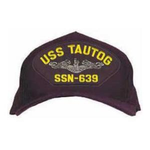 USS Tautog SSN-639 Cap with Silver Emblem (Dark Navy) (Direct Embroidered)