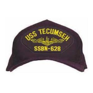 USS Tecumseh SSBN-628 Cap with Gold Emblem (Dark Navy) (Direct Embroidered)