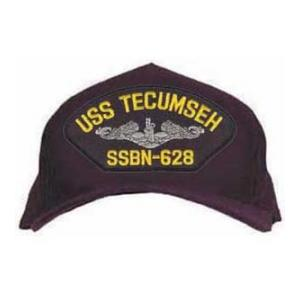 USS Tecumseh SSBN-628 Cap with Silver Emblem (Dark Navy) (Direct Embroidered)