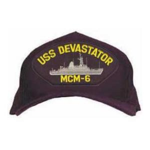 USS Devastator MCM-6 Cap with Emblem (Dark Navy) (Direct Embroidered)