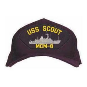 USS Scout MCM-8 Cap with Emblem (Dark Navy) (Direct Embroidered)