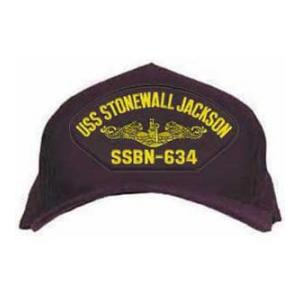 USS Stonewall Jackson SSBN-634 Cap with Gold Emblem (Dark Navy) (Direct Embroidered)