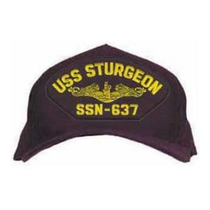 USS Sturgeon SSN-637 Cap with Gold Emblem (Dark Navy) (Direct Embroidered)