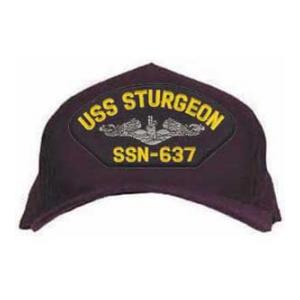USS Sturgeon SSN-637 Cap with Silver Emblem (Dark Navy) (Direct Embroidered)