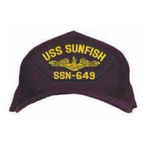USS Sunfish SSN-649 Cap with Gold Emblem (Dark Navy) (Direct Embroidered)
