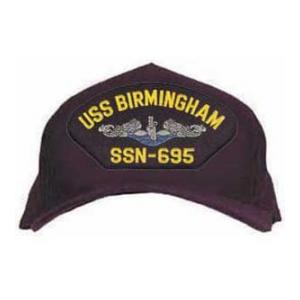 USS Birmingham SSN-695 Cap with Silver and Blue Emblem (Direct Embroidered)