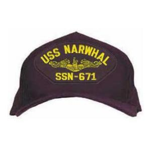 USS Narwhal SSN-671 Cap with Gold Emblem (Dark Navy) (Direct Embroidered)