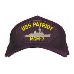 USS Patriot MCM-7 Cap with Emblem (Dark Navy) (Direct Embroidered)