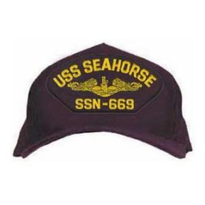 USS Seahorse SSN-669 Cap with Gold Emblem (Dark Navy) (Direct Embroidered)