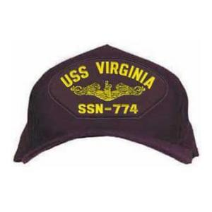 USS Virginia SSN-774 Cap with Gold Emblem (Dark Navy) (Direct Embroidered)
