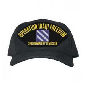 Operation Iraqi Freedom 3rd Infantry Division Cap with Emblem (Black) (Direct Embroidered)