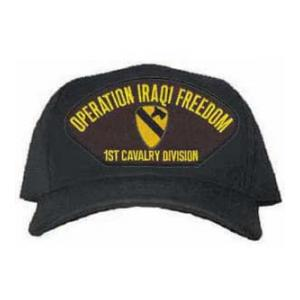 Operation Iraqi Freedom 1st Cavalry Division Cap with Emblem (Black)