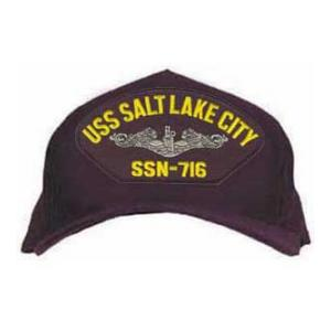 USS Salt Lake City SSN-716 Cap with Silver Emblem (Dark Navy) (Direct Embroidered)