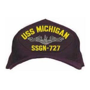 USS Michigan SSGN-727 Cap with Silver Emblem (Dark Navy) (Direct Embroidered)